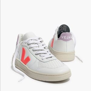 Madewell x Veja V-10 Leather Sneakers Lilac Orange